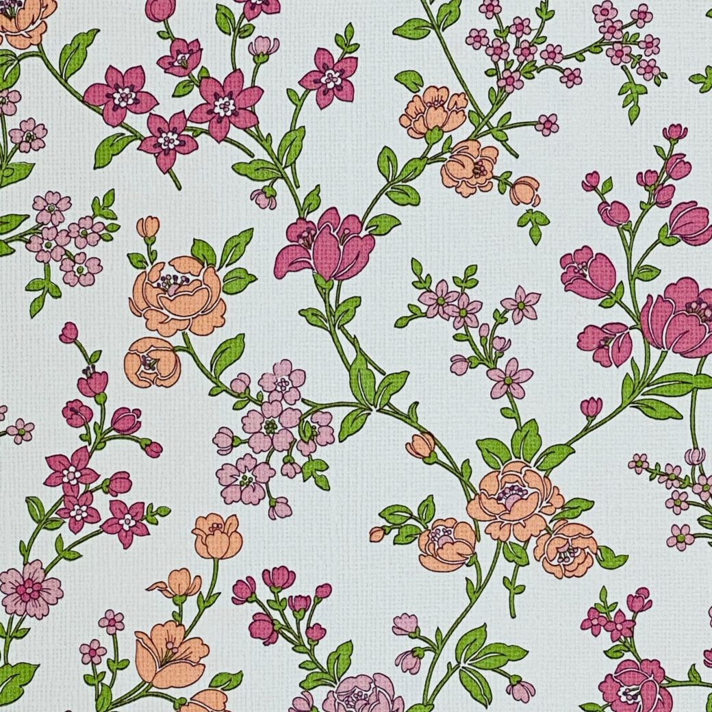 Vintage Floral Wallpaper Pink and Purple 6