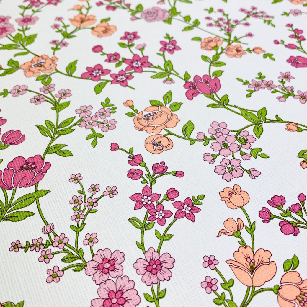Vintage Floral Wallpaper Pink and Purple 7