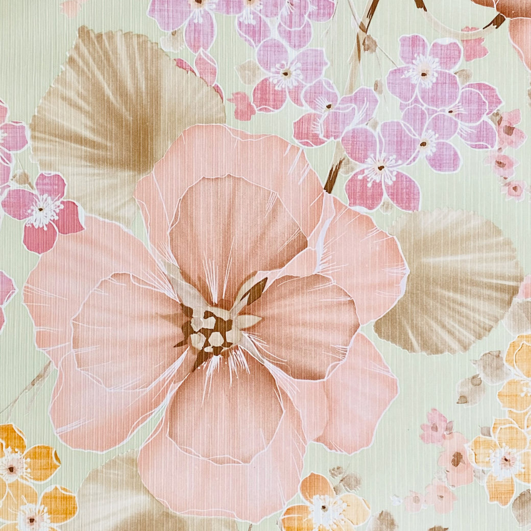 Vintage Floral Wallpaper Purple and Pink on Green 1