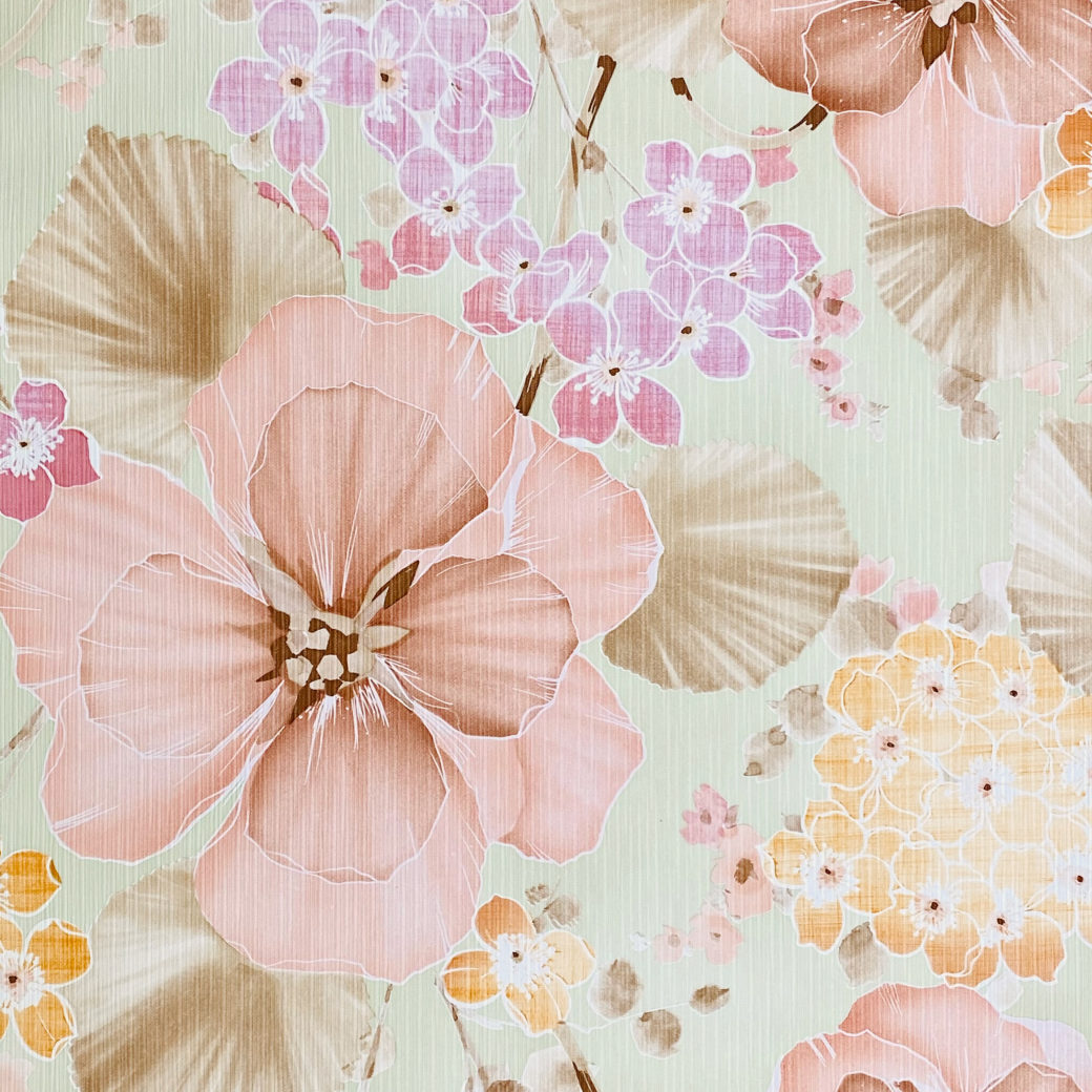 Vintage Floral Wallpaper Purple and Pink on Green 2
