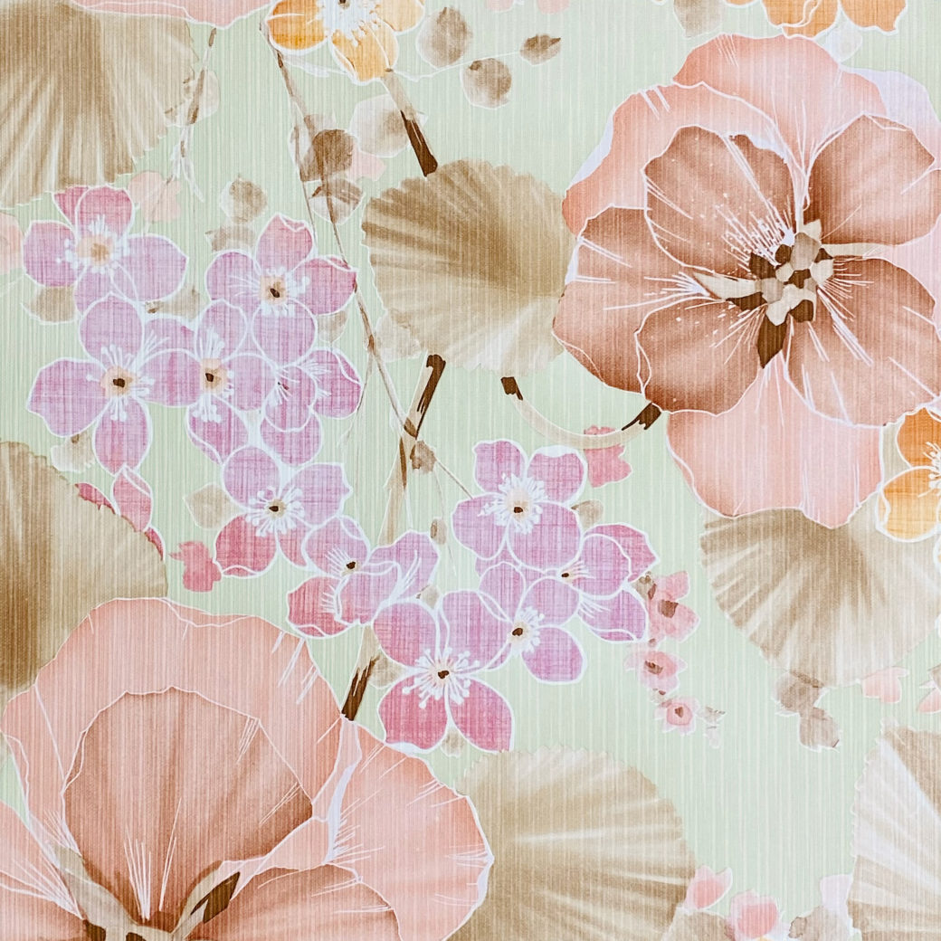 Vintage Floral Wallpaper Purple and Pink on Green 7