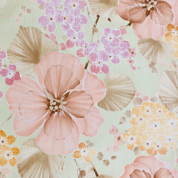 Vintage Floral Wallpaper Purple and Pink on Green 3