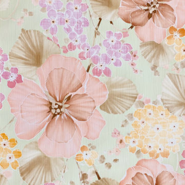Vintage Floral Wallpaper Purple and Pink on Green 4