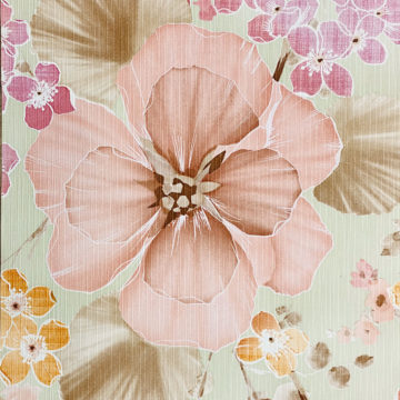 Vintage Floral Wallpaper Purple and Pink on Green