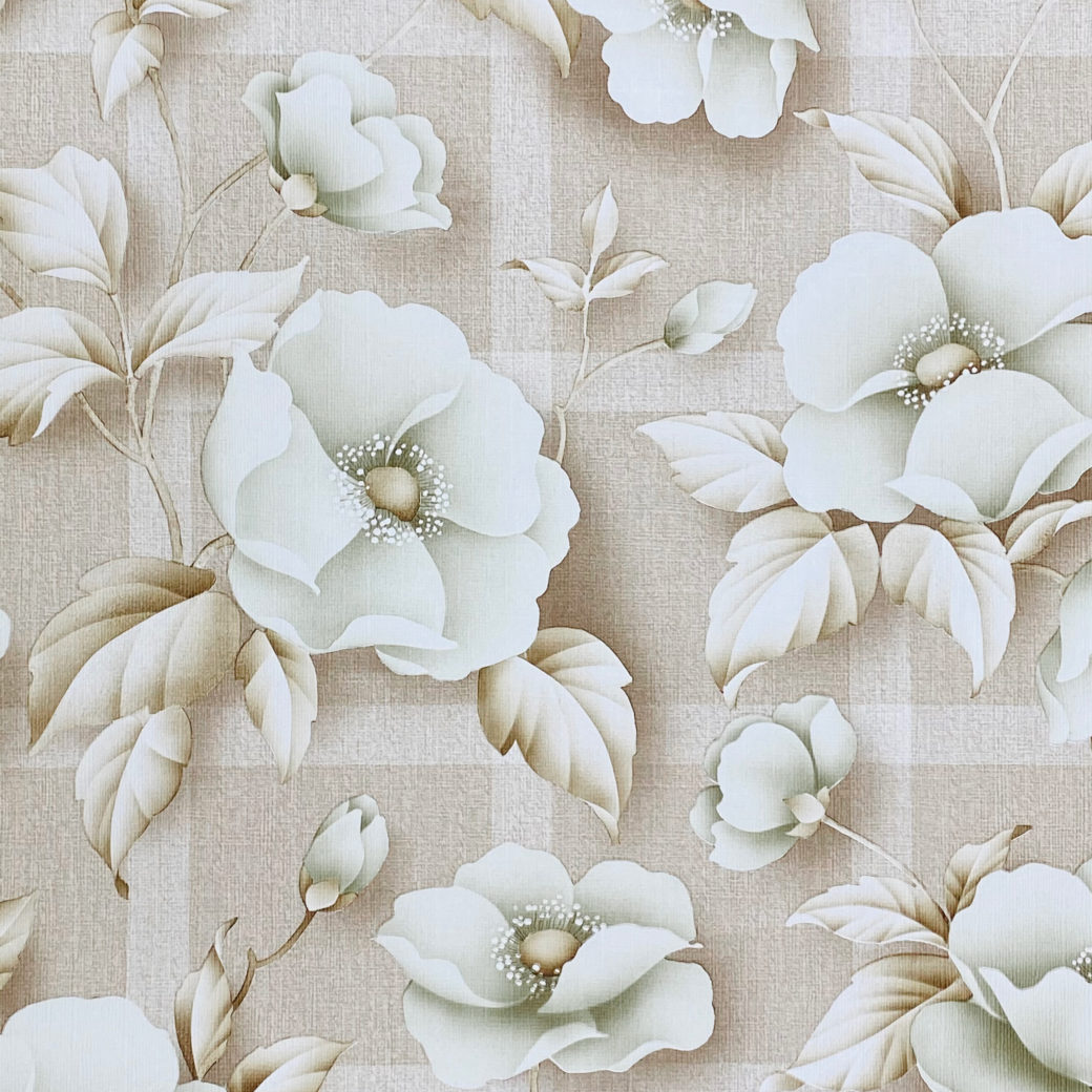 Vintage Floral Wallpaper with Green Flowers 3