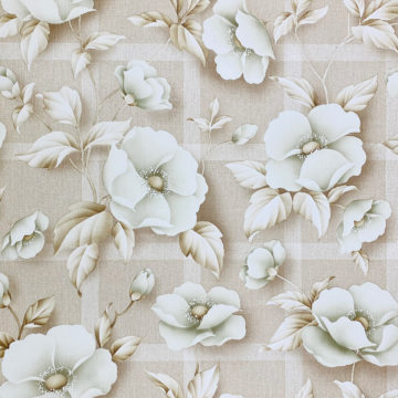 Vintage Floral Wallpaper with Green Flowers 1