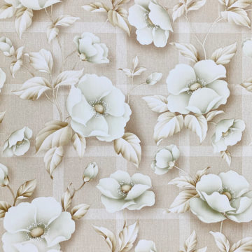 Vintage Floral Wallpaper with Green Flowers