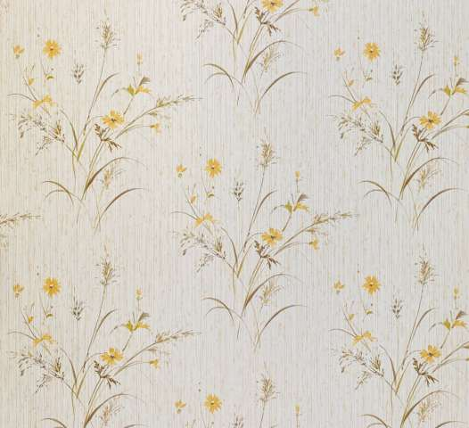 Vintage Floral Wallpaper Yellow and Green 1