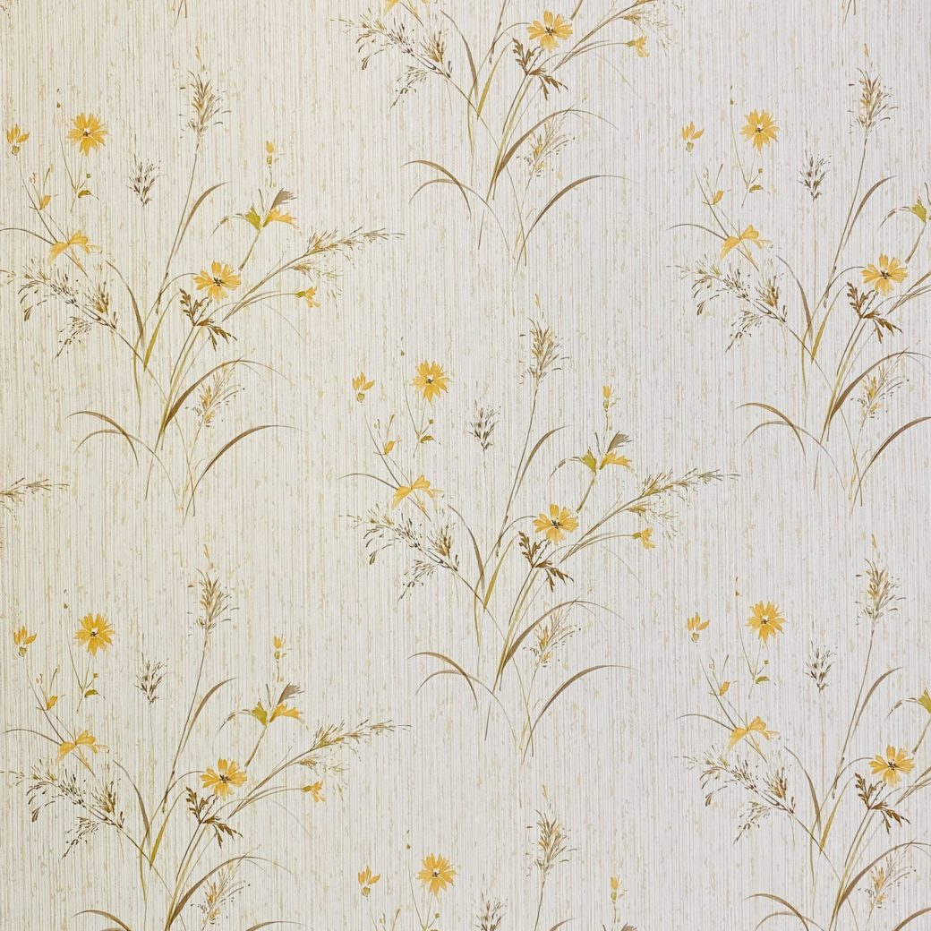 Vintage Floral Wallpaper Yellow and Green 3