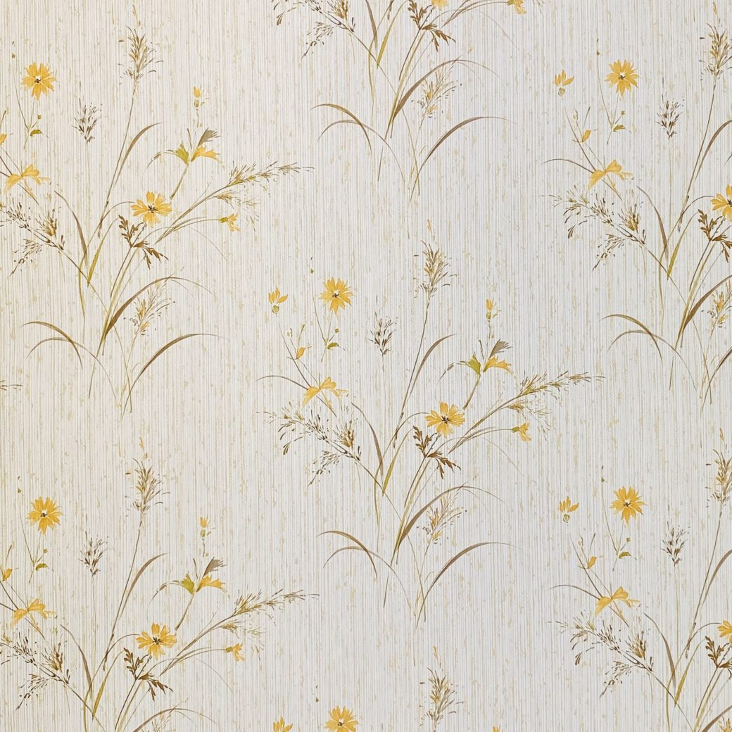 Vintage Floral Wallpaper Yellow and Green 4