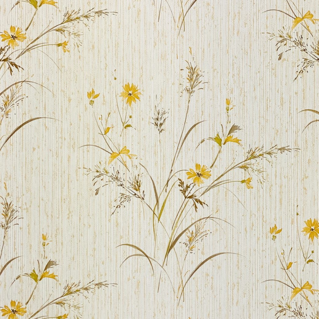 Vintage Floral Wallpaper Yellow and Green 6