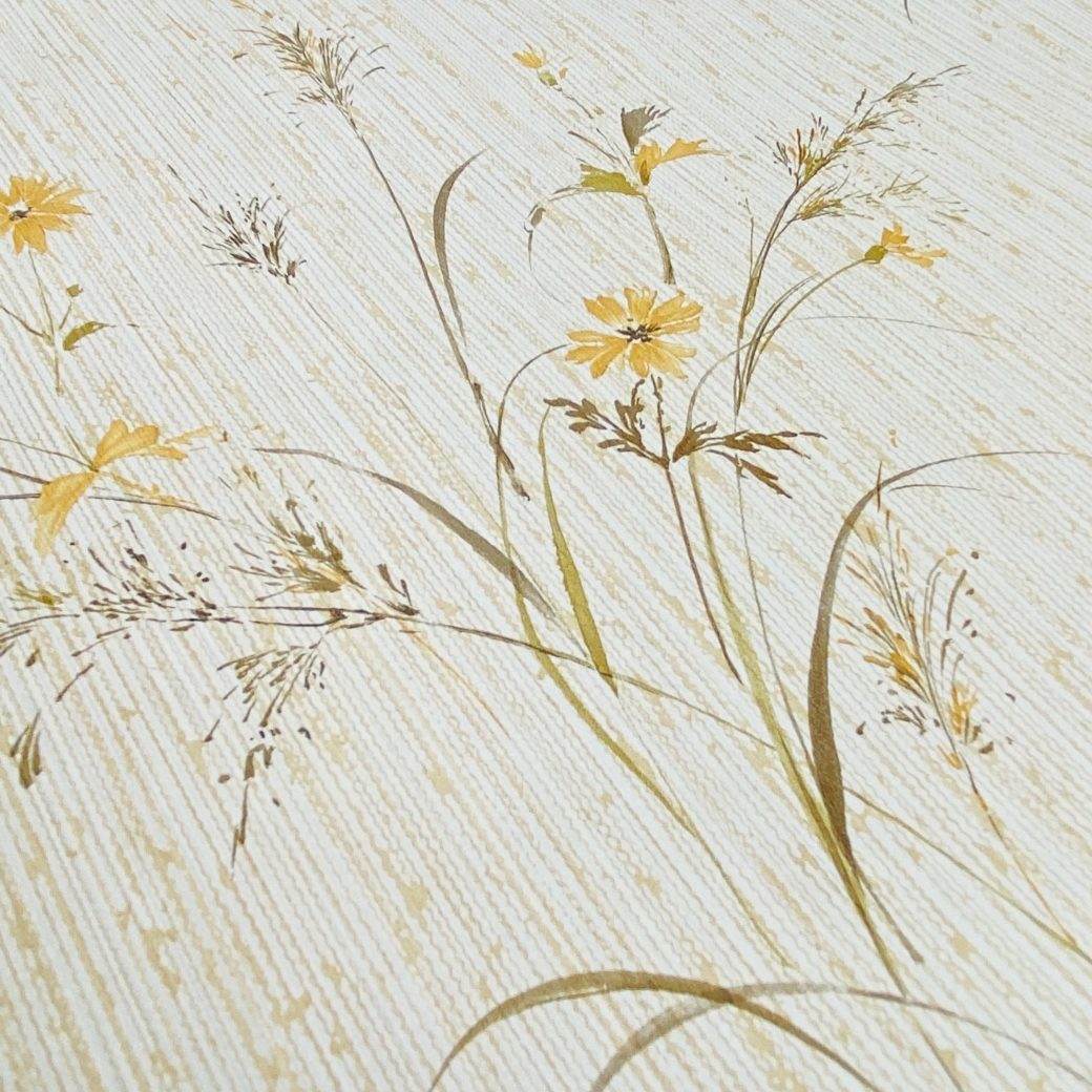 Vintage Floral Wallpaper Yellow and Green 8