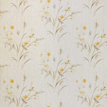 Vintage Floral Wallpaper Yellow and Green 2