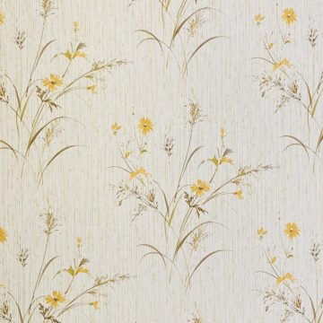 Vintage Floral Wallpaper Yellow and Green 5