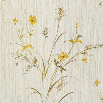 Vintage Floral Wallpaper Yellow and Green 7