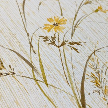 Vintage Floral Wallpaper Yellow and Green 9