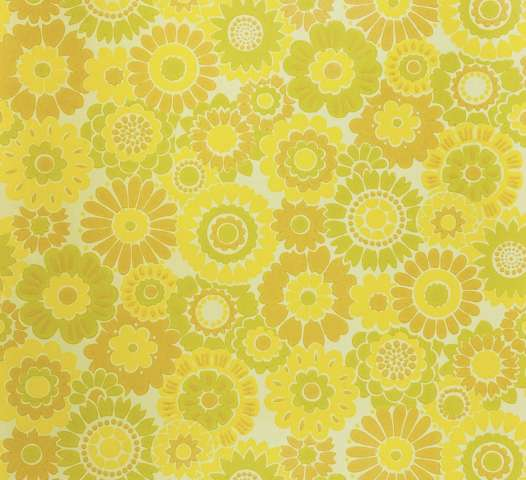 Vintage Floral Wallpaper Yellow Flowers 1