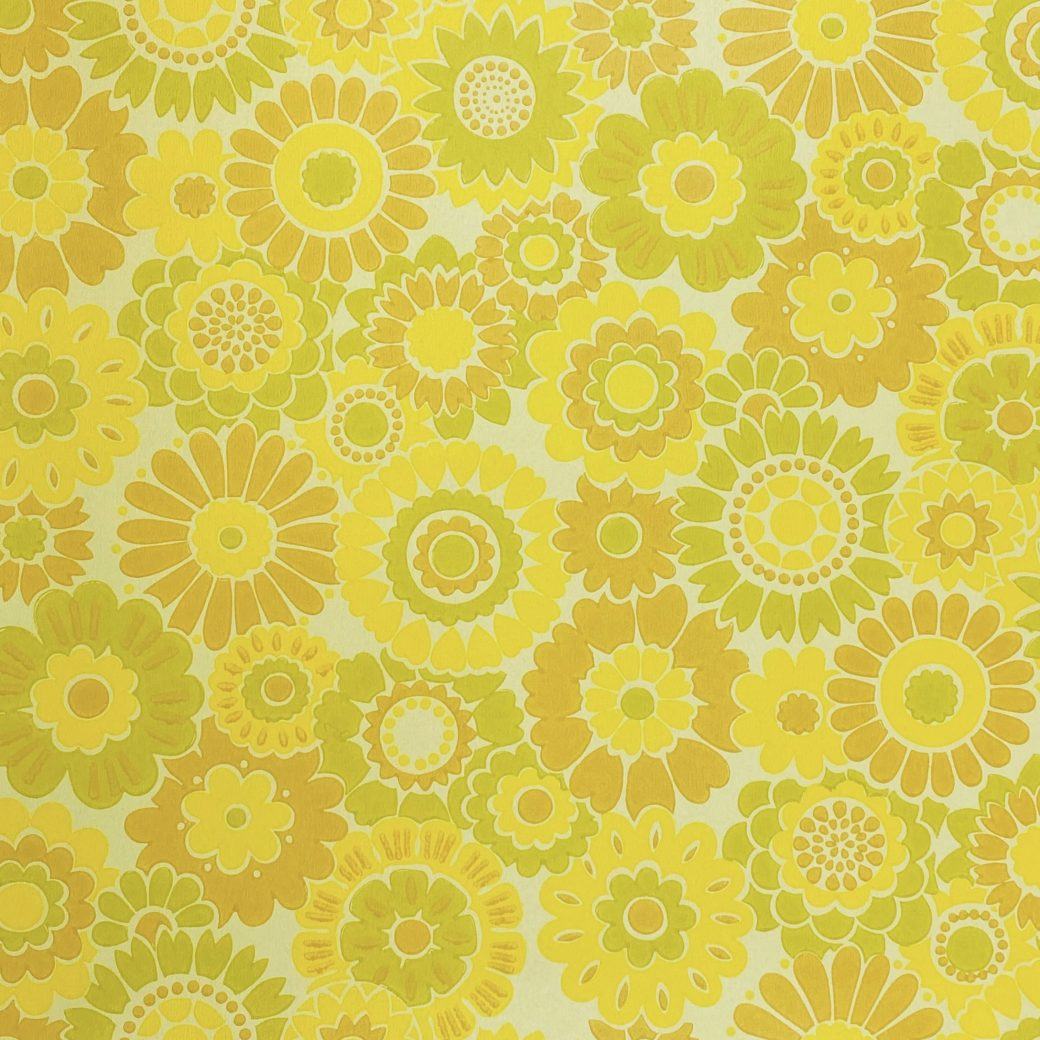 Vintage Floral Wallpaper Yellow Flowers 3