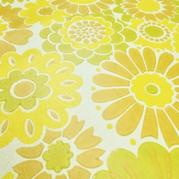 Vintage Floral Wallpaper Yellow Flowers 10