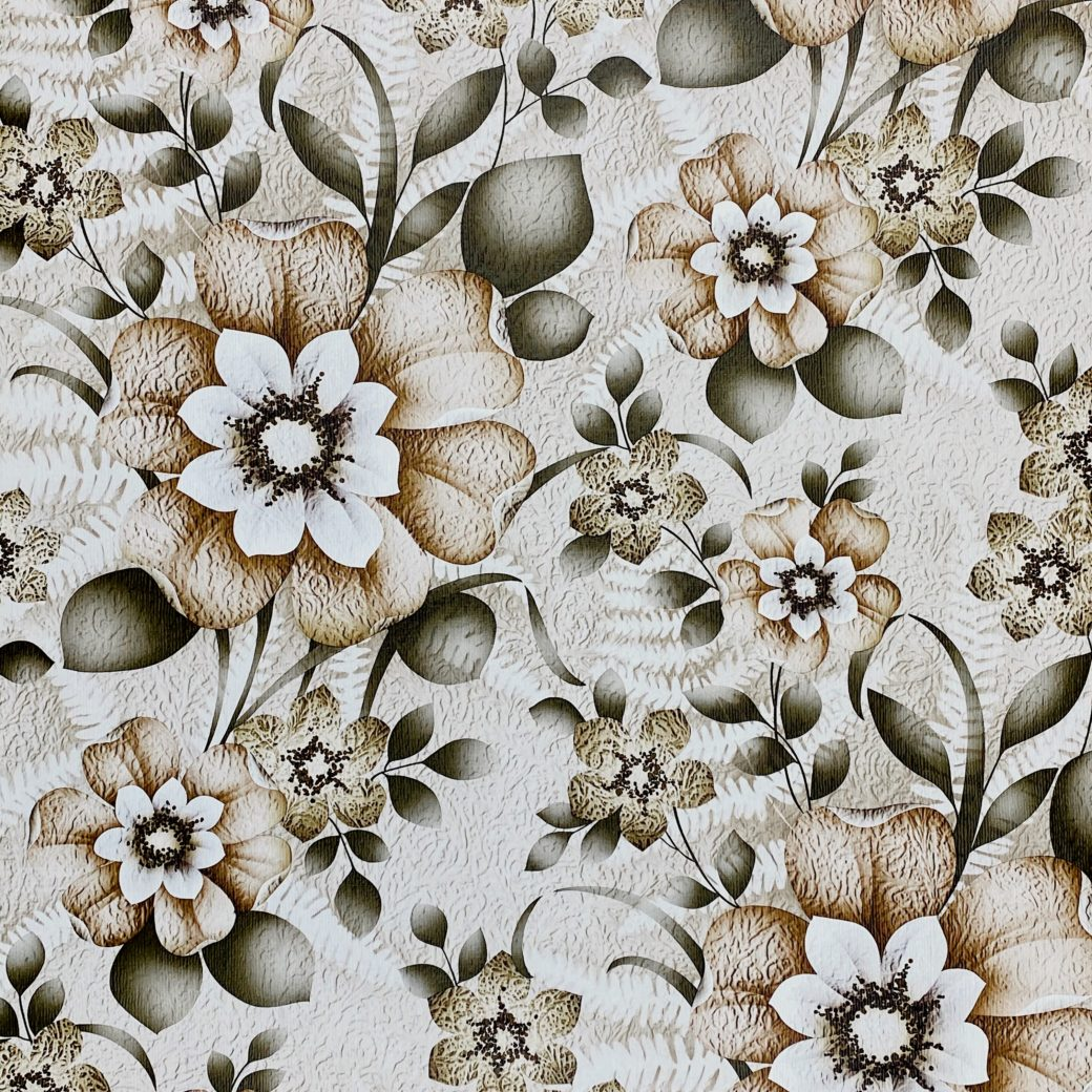 Vintage Flower Wallpaper Green and Brown 1