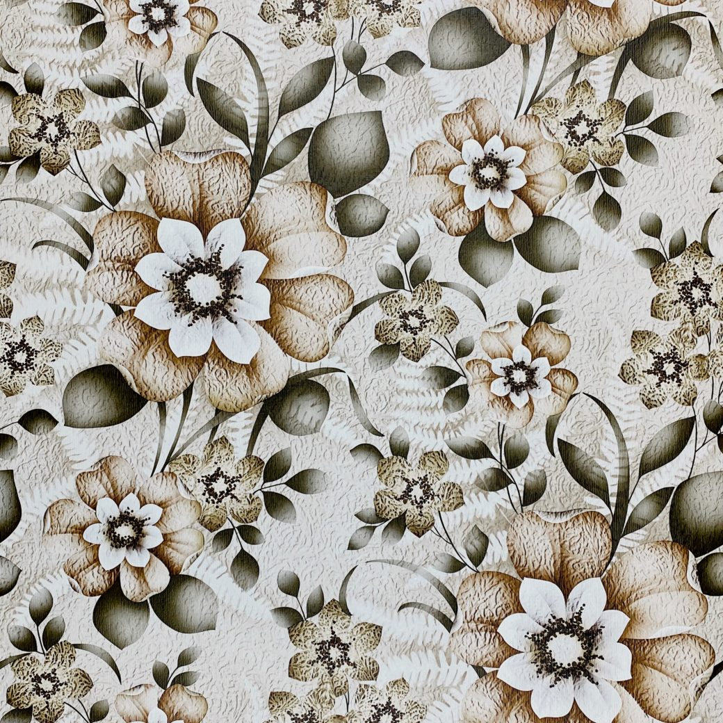 Vintage Flower Wallpaper Green and Brown