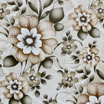 Vintage Flower Wallpaper Green and Brown 2