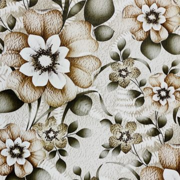 Vintage Flower Wallpaper Green and Brown 3
