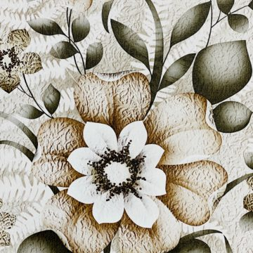 Vintage Flower Wallpaper Green and Brown 4