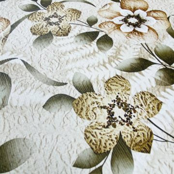 Vintage Flower Wallpaper Green and Brown 5
