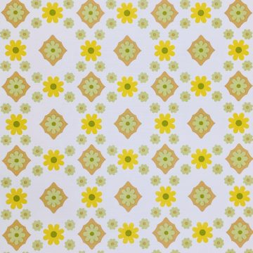 Vintage Flower Wallpaper Yellow and Green 1