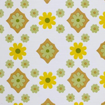 Vintage Flower Wallpaper Yellow and Green 2