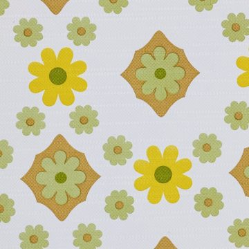 Vintage Flower Wallpaper Yellow and Green 3