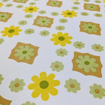 Vintage Flower Wallpaper Yellow and Green 4