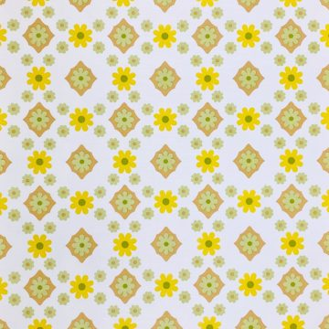 Vintage Flower Wallpaper Yellow and Green