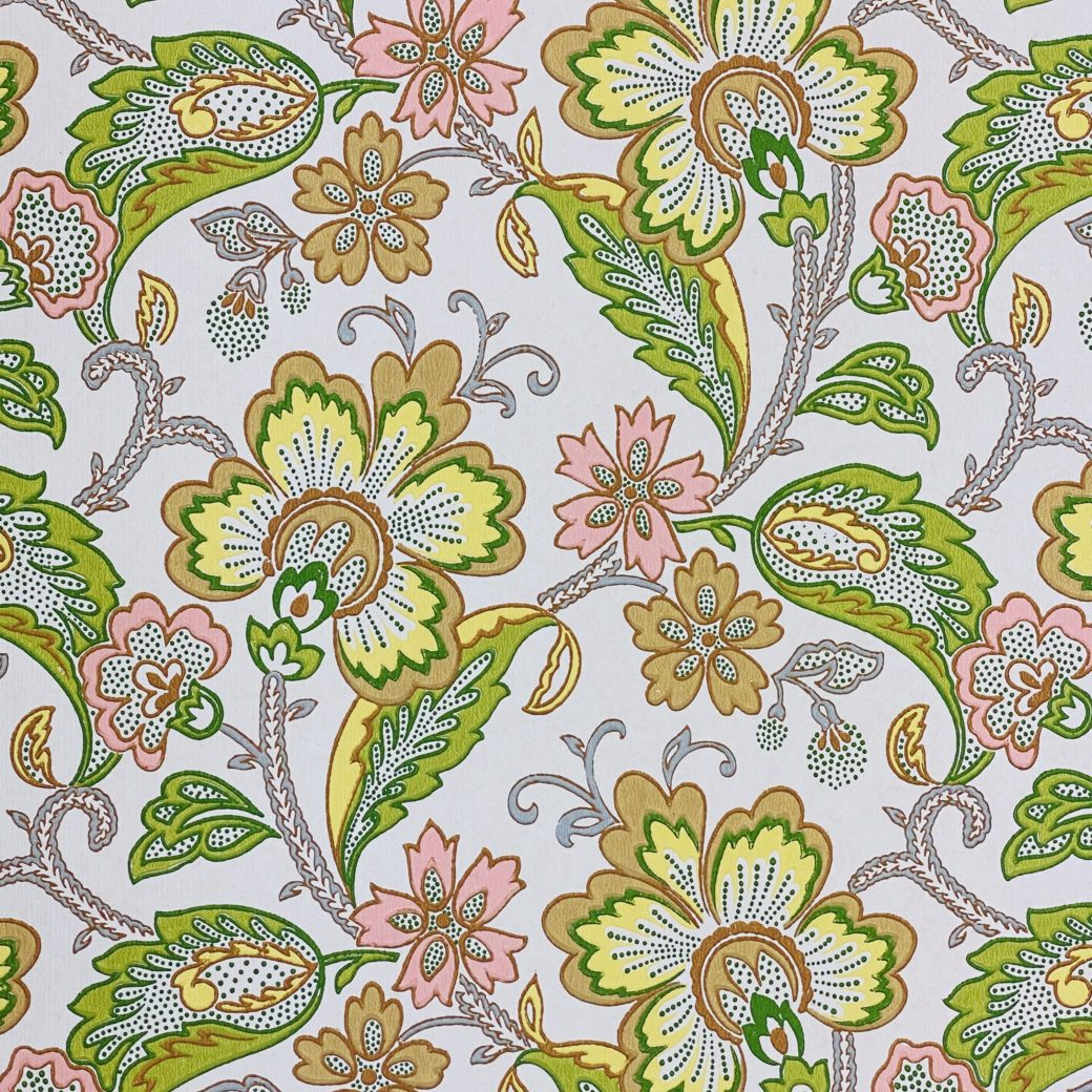 Vintage Flowers Wallpaper Yellow and Pink 3