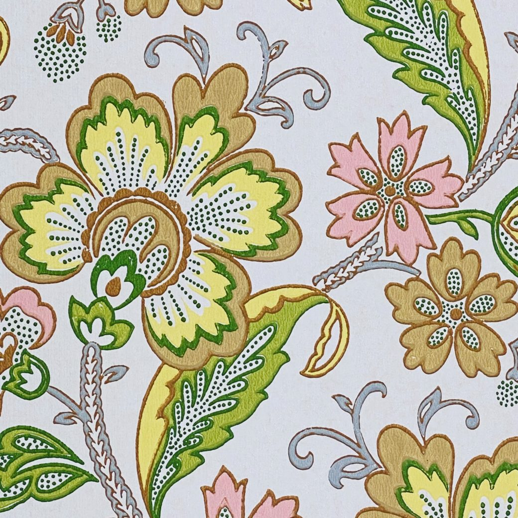 Vintage Flowers Wallpaper Yellow and Pink 5