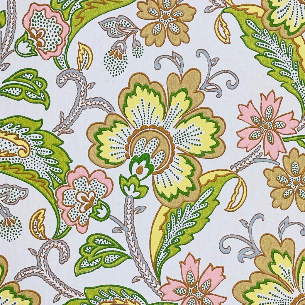 Vintage Flowers Wallpaper Yellow and Pink 6