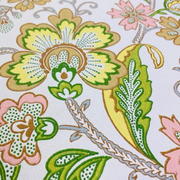 Vintage Flowers Wallpaper Yellow and Pink 4