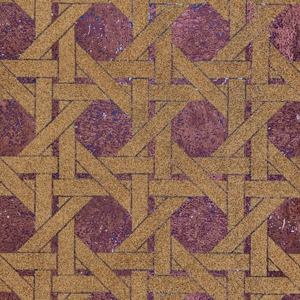 Vintage geometric cork wallpaper 1