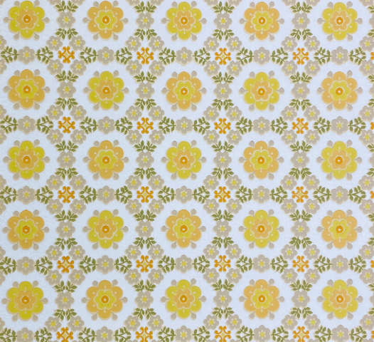 Vintage Geometric Floral Wallpaper