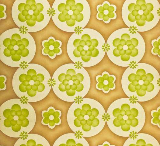 Vintage geometric wallpaper with green flowers