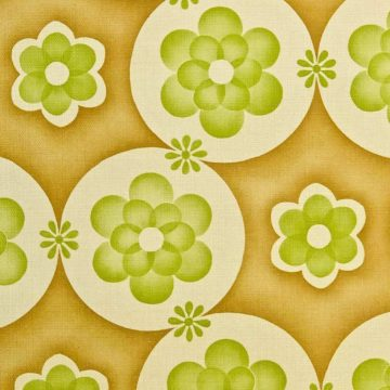 Vintage geometric wallpaper with green flowers 1 2