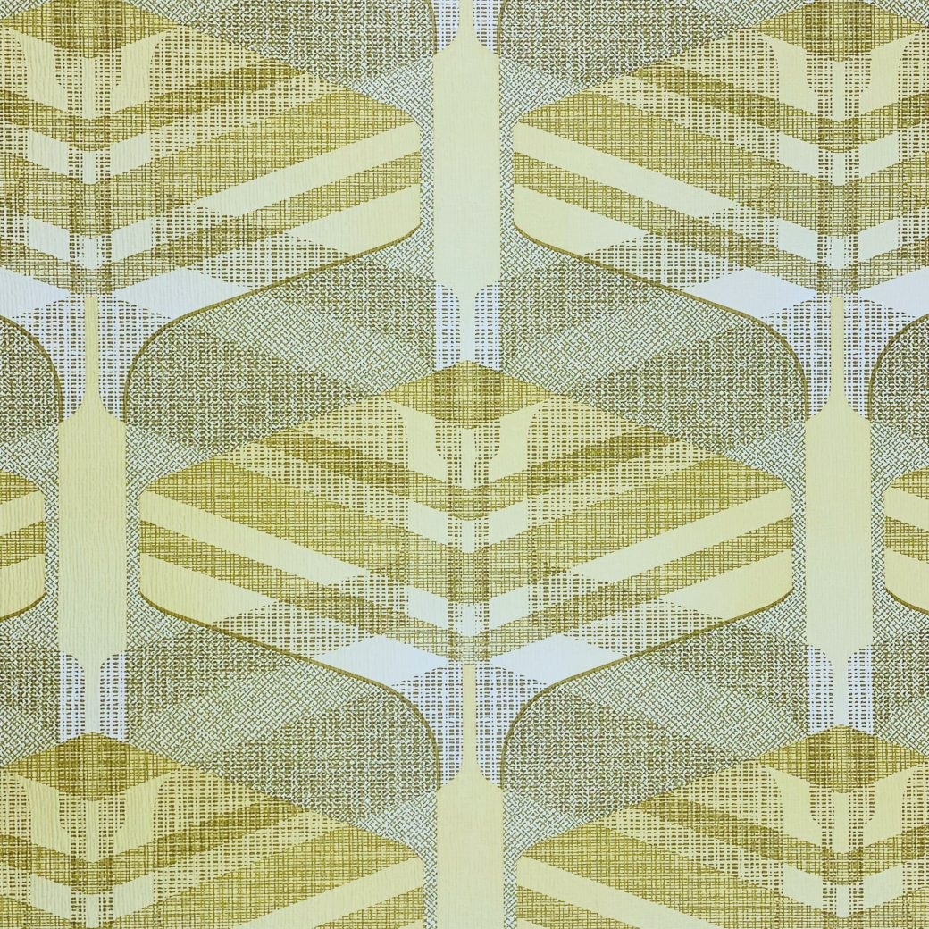 Vintage Geometric Wallpaper Yellow and Green 6