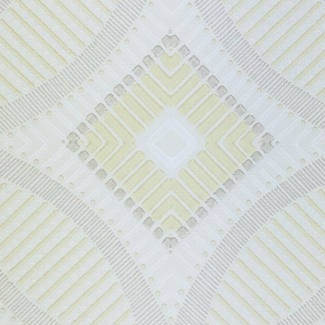 Vintage Geometric Wallpaper Yellow and White 3