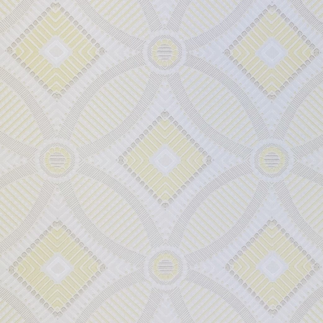 Vintage Geometric Wallpaper Yellow and White 7