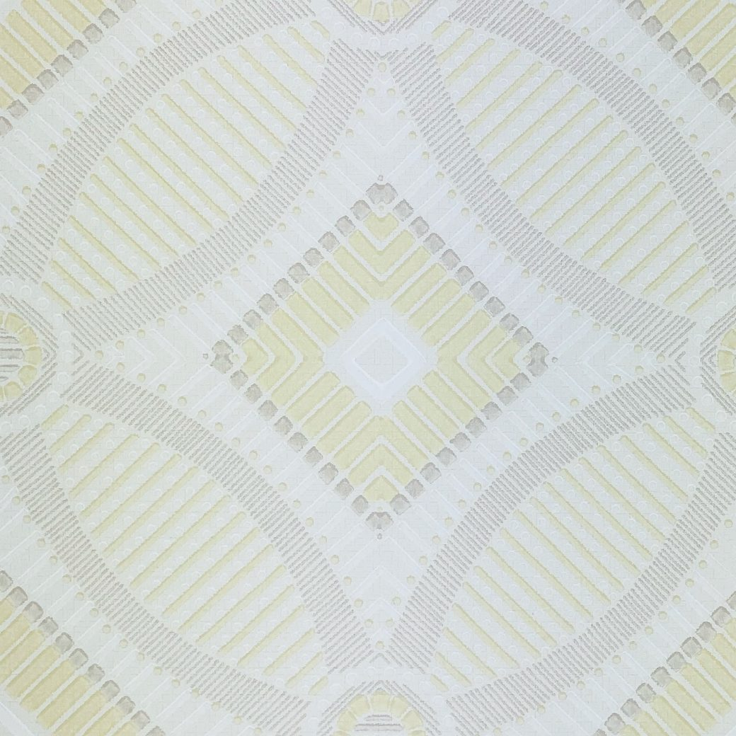 Vintage Geometric Wallpaper Yellow and White 9