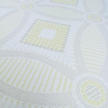 Vintage Geometric Wallpaper Yellow and White 10