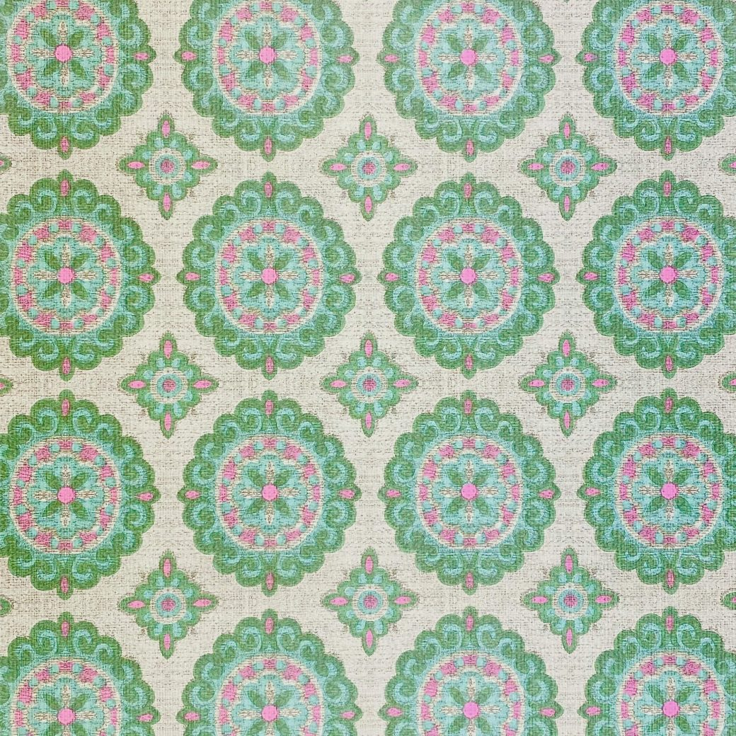 Vintage Green and Pink Geometric Wallpaper 3