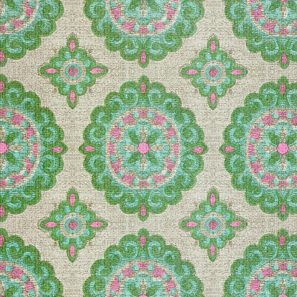Vintage Green and Pink Geometric Wallpaper 7
