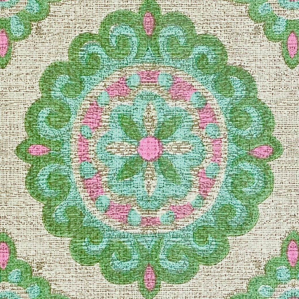 Vintage Green and Pink Geometric Wallpaper 10